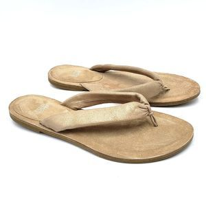 Eileen Fisher Nude Leather Suede Flip Flop Sandals
